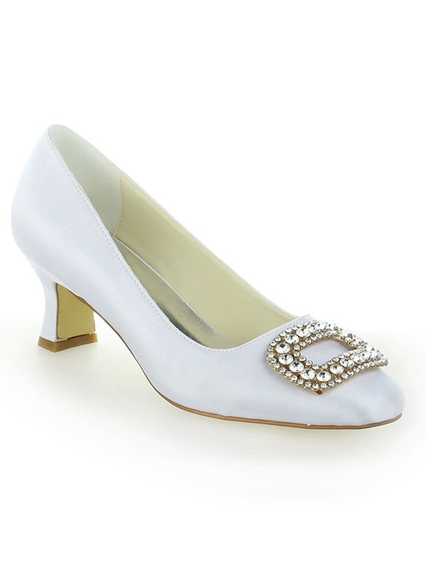 Women's Closed Toe Chunky Heel With Rhinestone High Heels