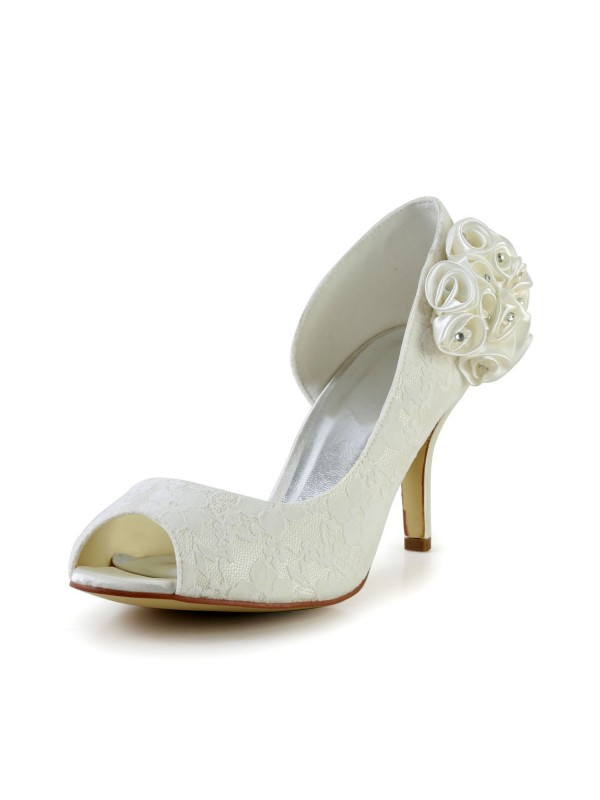 Women's Trendy Stiletto Heel Satin Ivory Wedding Shoes With Flower