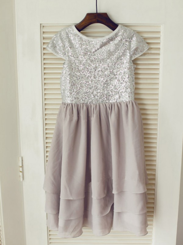 A-line Jewel Short Sleeves Tea-length Chiffon Flower Girl Dress