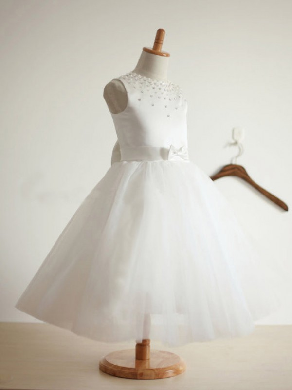 Ball Gown Jewel Tea-length Tulle Flower Girl Dress