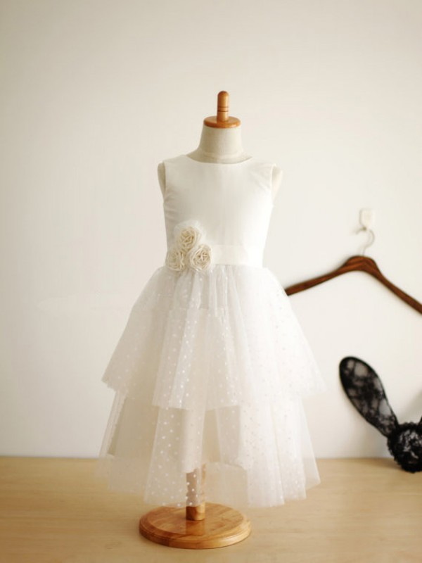 A-line Jewel Tea-length Tulle Flower Girl Dress