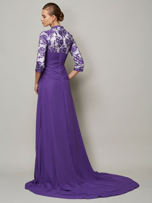 A-Line/Princess V-neck 1/2 Sleeves Beading Long Chiffon Dresses