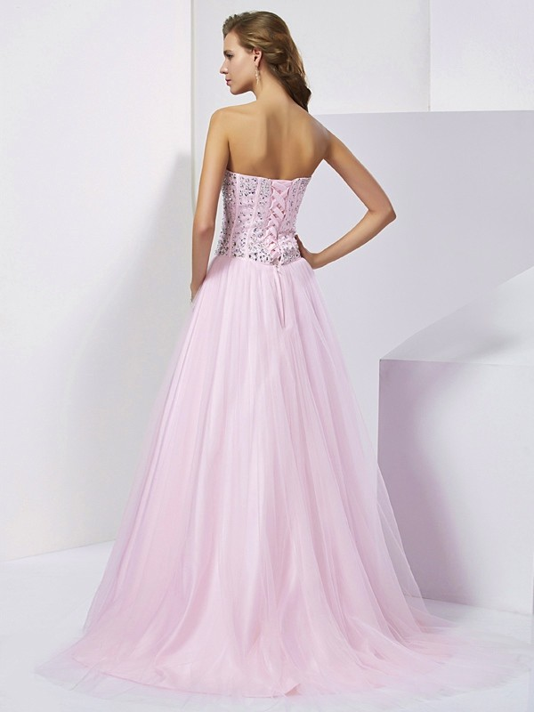 Ball Gown Sweetheart Sleeveless Beading Long Satin Quinceanera Dresses