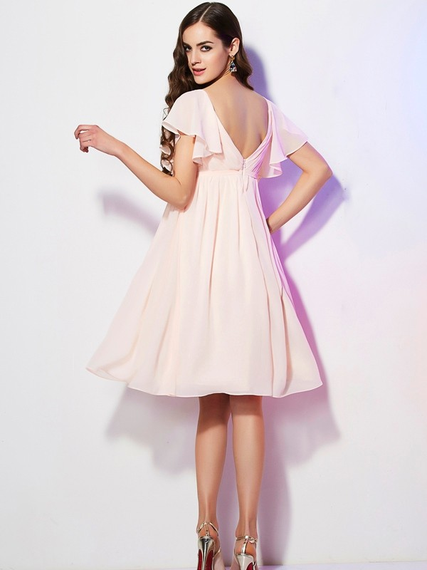 Sheath/Column Sweetheart Short Sleeves Ruffles Short Chiffon Bridesmaid Dresses