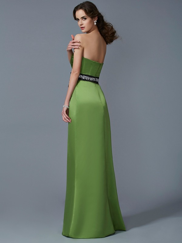Sheath/Column Strapless Sleeveless Sash/Ribbon/Belt Long Satin Bridesmaid Dresses