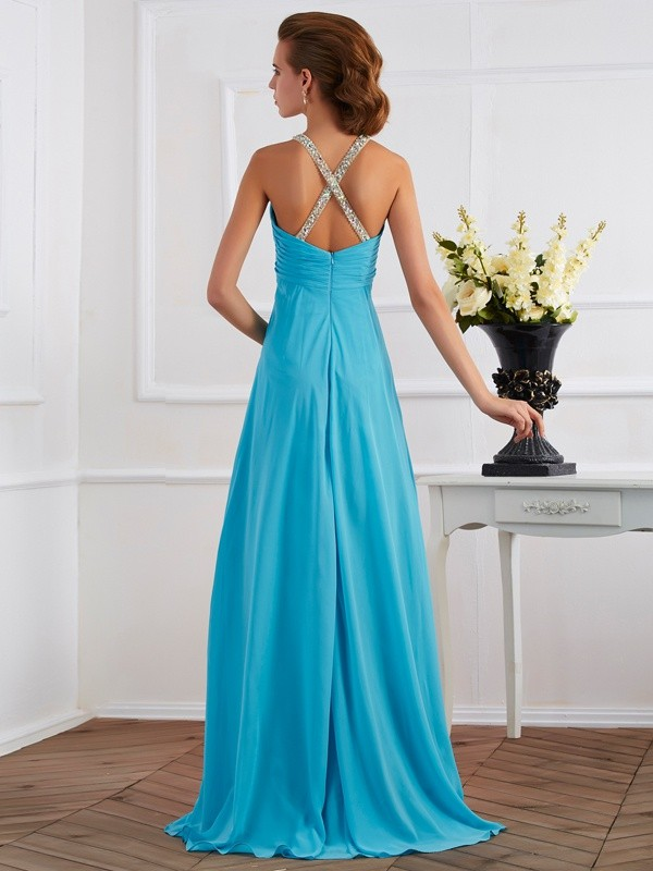 Empire Halter Sleeveless Beading Long Chiffon Dresses