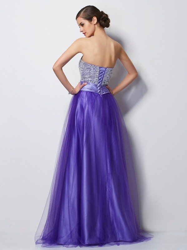 A-Line/Princess Sweetheart Sleeveless Beading Long Net Dresses