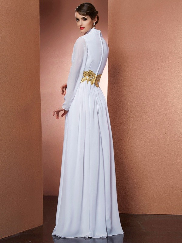 A-Line/Princess V-neck Long Sleeves Long Chiffon Dresses