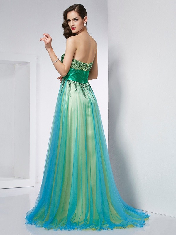 Ball Gown Sweetheart Sleeveless Ruffles Long Elastic Woven Satin Dresses