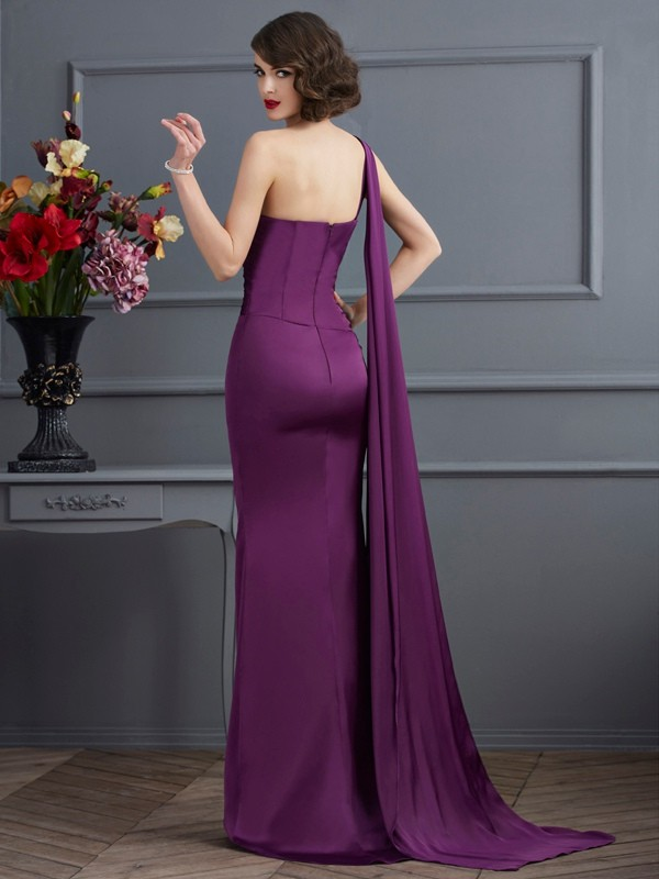 Sheath/Column One-Shoulder Sleeveless Long Chiffon Dresses