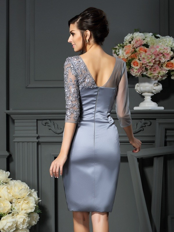 Sheath/Column Scoop Beading 1/2 Sleeves Short Satin Mother of the Bride Dresses