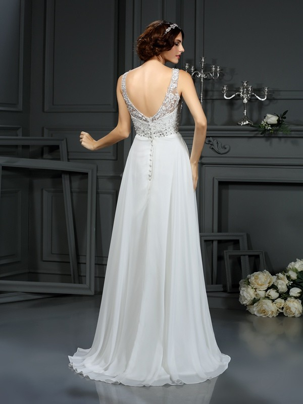 A-Line/Princess V-neck Lace Sleeveless Long Chiffon Wedding Dresses
