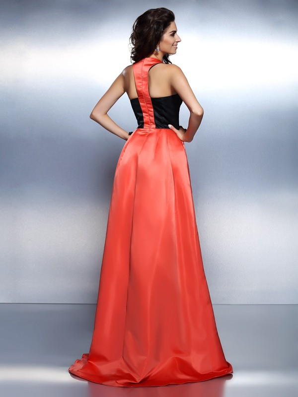 A-Line/Princess High Neck Sleeveless Long Satin Dresses