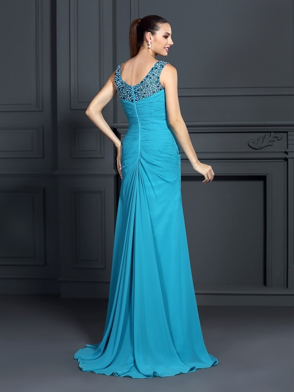 Trumpet/Mermaid Straps Ruffles Sleeveless Long Chiffon Dresses