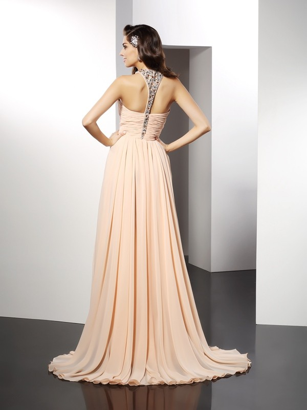 A-Line/Princess Jewel Ruffles Sleeveless Long Chiffon Dresses