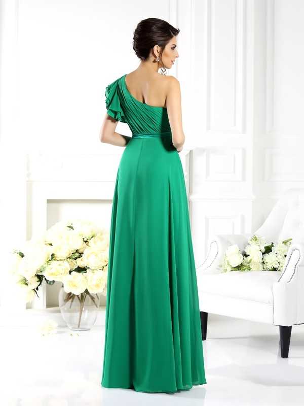 A-Line/Princess One-Shoulder Ruffles Sleeveless Long Chiffon Bridesmaid Dresses
