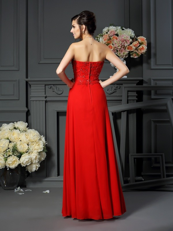 A-Line/Princess Sweetheart Beading Sleeveless Long Chiffon Mother of the Bride Dresses