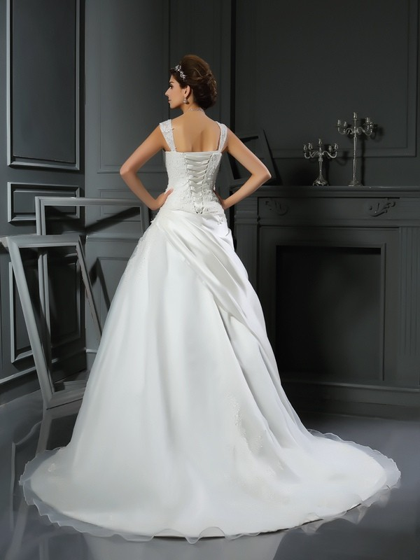 Ball Gown Straps Applique Sleeveless Long Satin Wedding Dresses