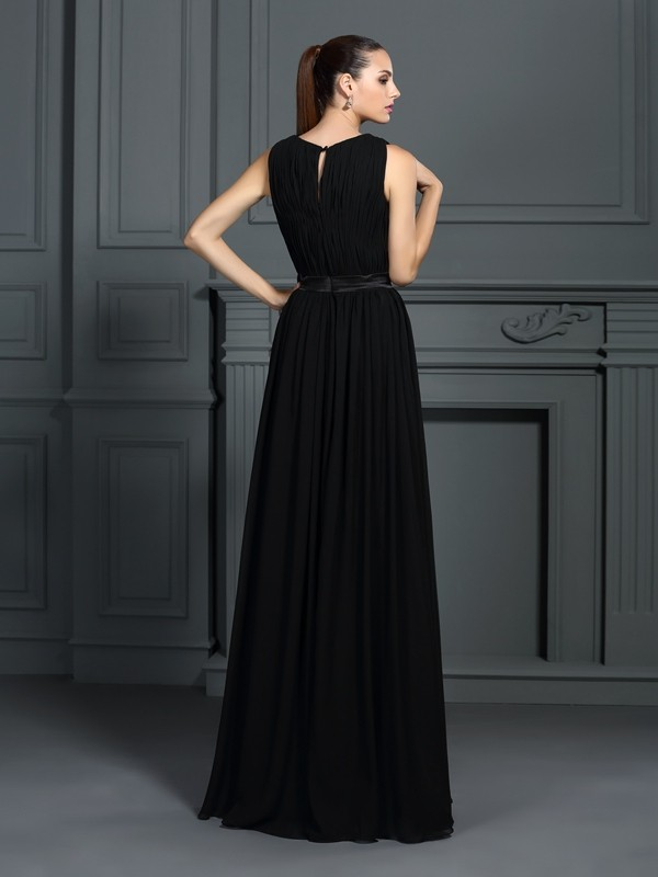 A-Line/Princess Scoop Pleats Sleeveless Long Chiffon Dresses