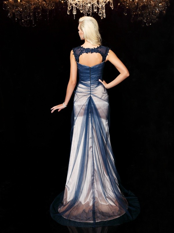 Sheath/Column Straps Applique Sleeveless Long Elastic Woven Satin Dresses
