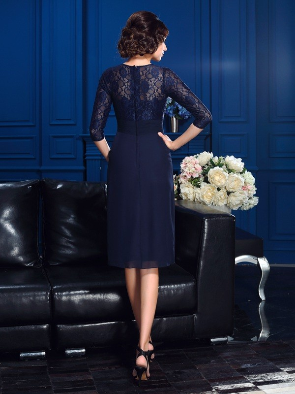 A-Line/Princess Jewel Lace 3/4 Sleeves Short Chiffon Mother of the Bride Dresses