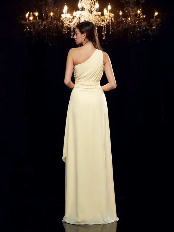 A-Line/Princess One-Shoulder Beading Sleeveless High Low Chiffon Dresses