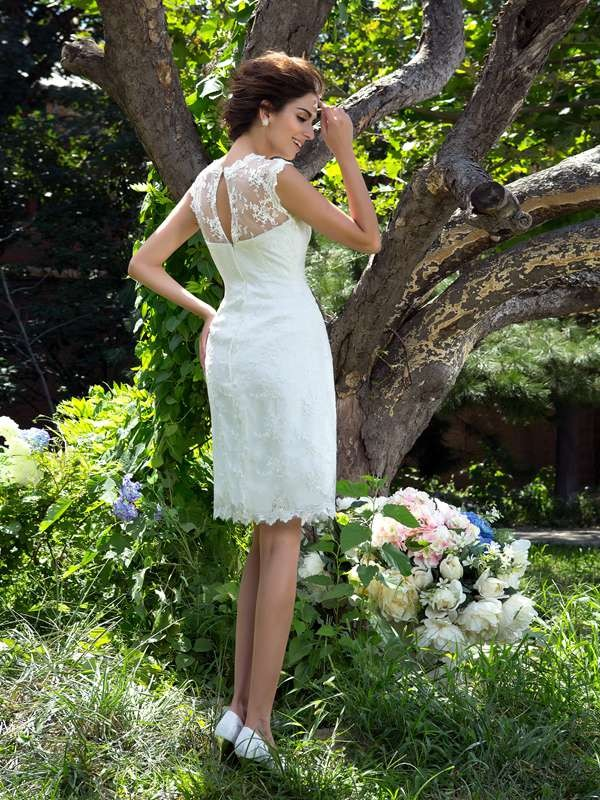 A-Line/Princess Sheer Neck Applique Sleeveless Short Satin Wedding Dresses