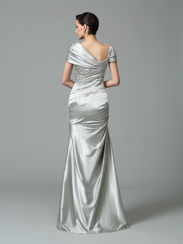 Sheath/Column Off-the-Shoulder Pleats Sleeveless Long Silk like Satin Dresses