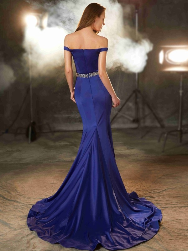 Trumpet/Mermaid Off-the-Shoulder Sleeveless Crystal Sweep/Brush Train Satin Dresses