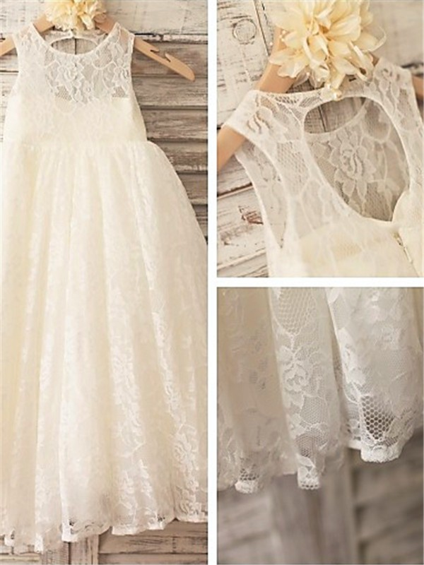 A-line Scoop Sleeveless Ankle-length Lace Flower Girl Dress