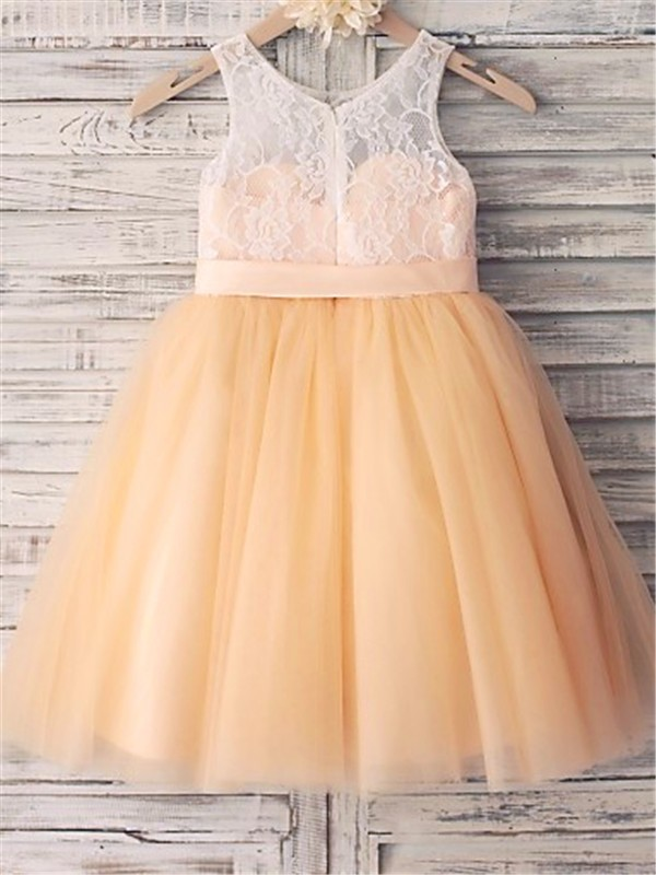 A-line Sleeveless Scoop Tea-length Tulle Flower Girl Dress