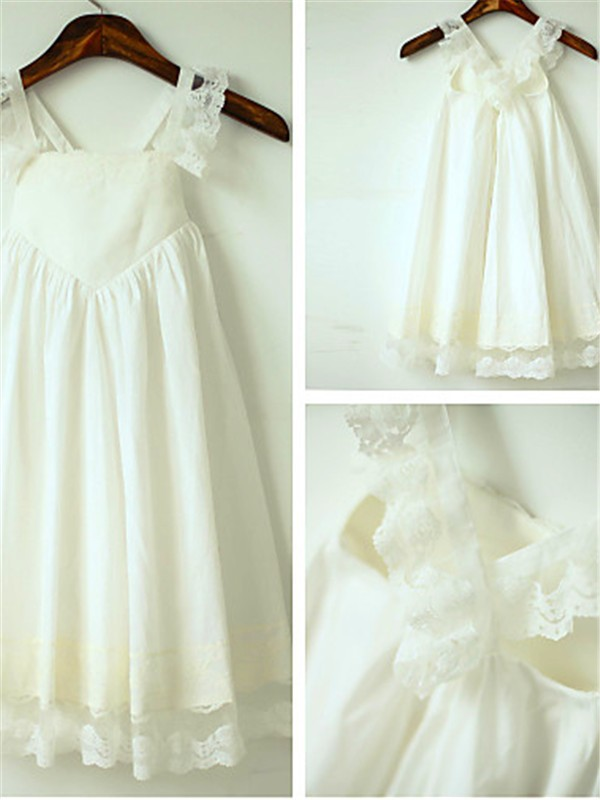 A-line Straps Sleeveless Ankle-length Chiffon Flower Girl Dress
