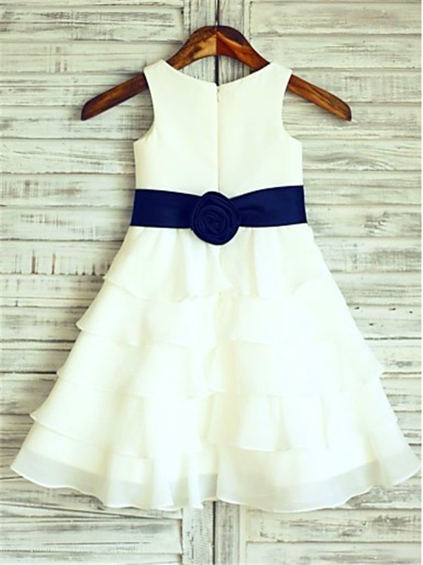 A-line Sleeveless Scoop Tea-length Chiffon Flower Girl Dress