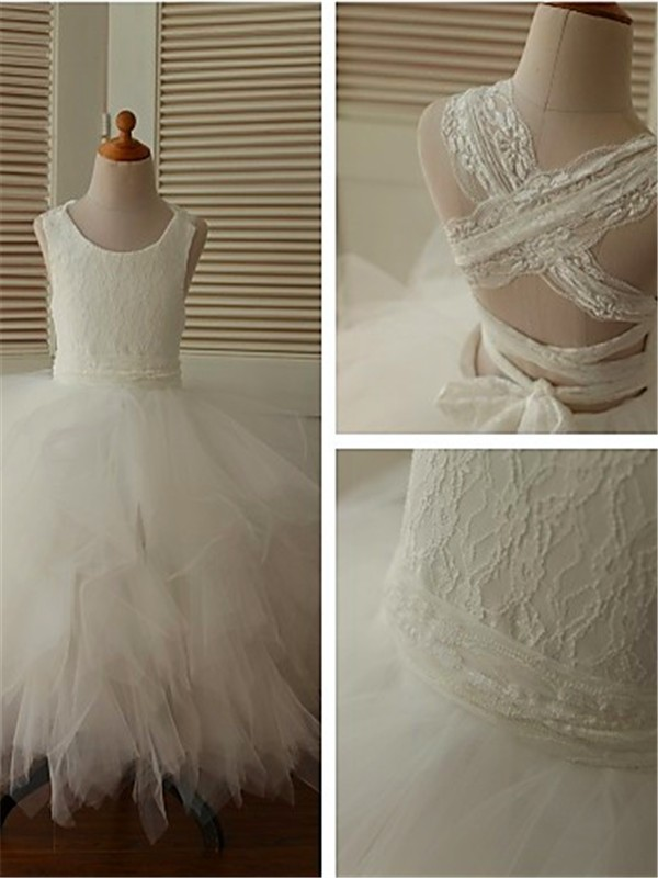 Ball Gown Scoop Sleeveless Lace Floor-Length Organza Flower Girl Dress
