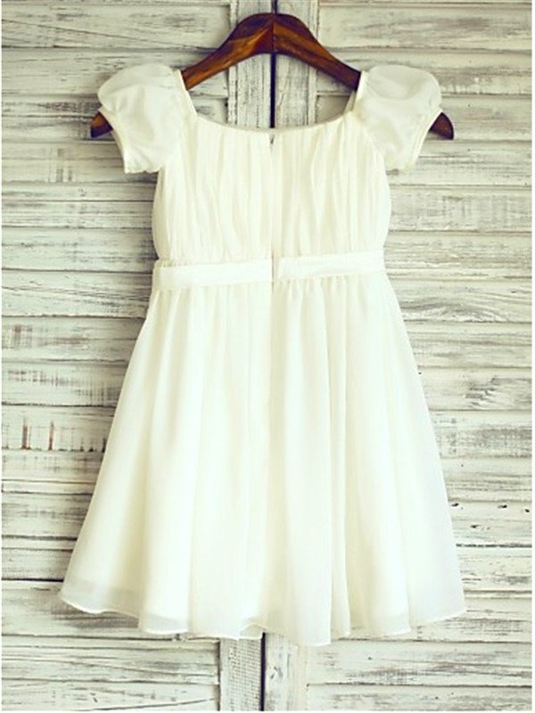 A-line Square Short Sleeves Tea-Length Chiffon Flower Girl Dress