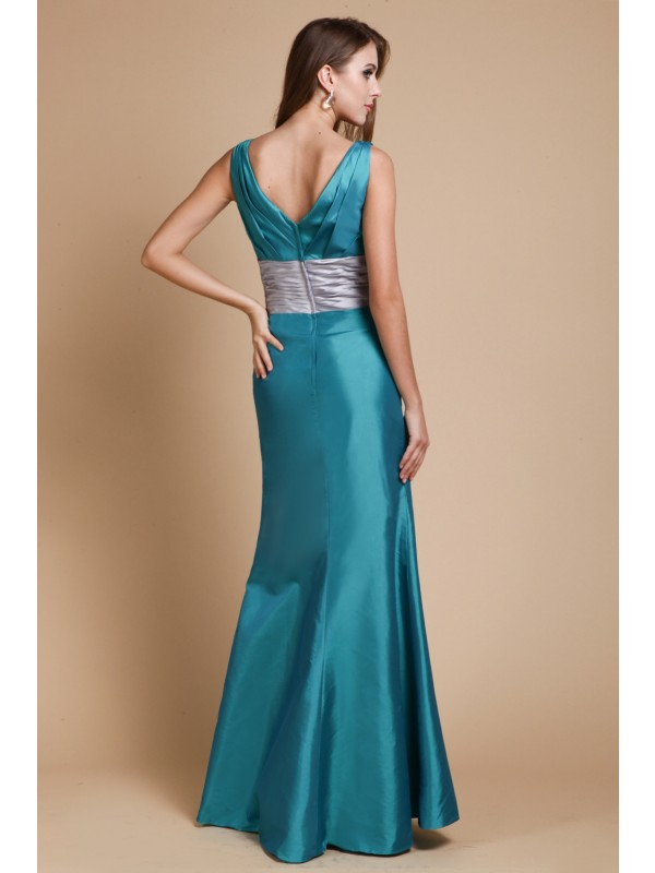 Sheath/Column V-Neck Sleeveless Sash/Ribbon/Belt Taffeta Bridesmaid Dresses