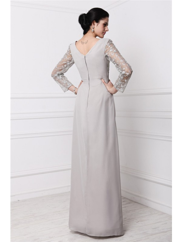 Sheath/Column V-neck Long Sleeves Lace Long Chiffon Dresses