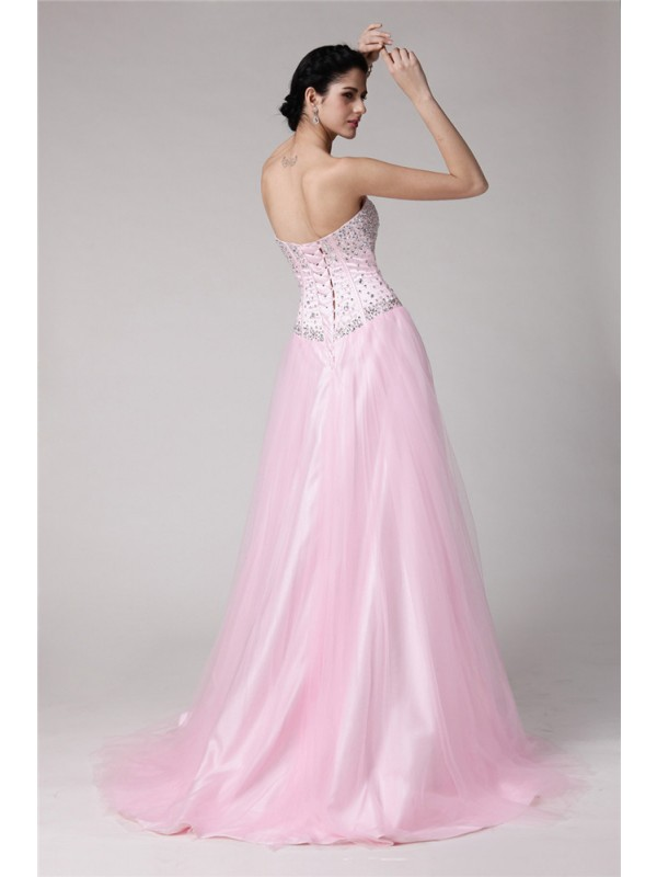 A-Line/Princess Sweetheart Sleeveless Beading Long Elastic Woven Satin Net Dresses
