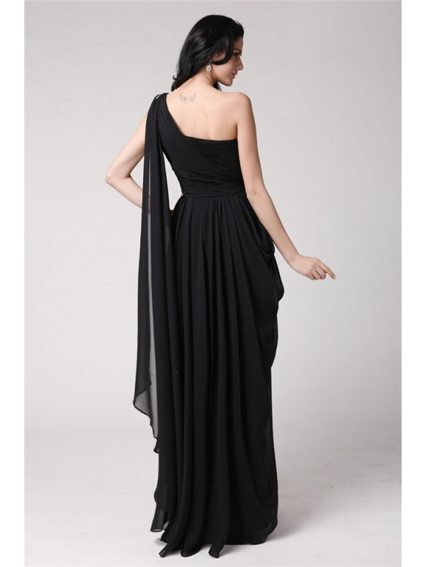Sheath/Column One-Shoulder Sleeveless Long Beading Chiffon Dresses