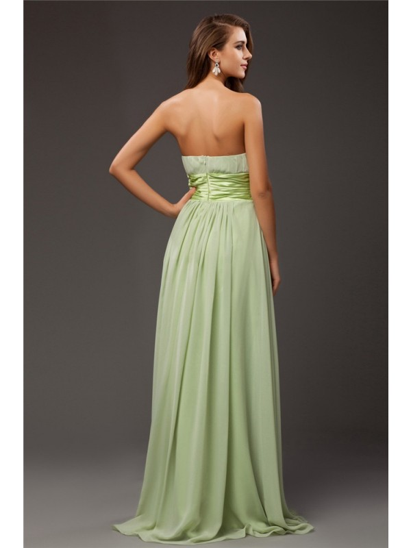 Sheath/Column Strapless Sleeveless Ruffles Long Chiffon Elastic Woven Satin Bridesmaid Dresses