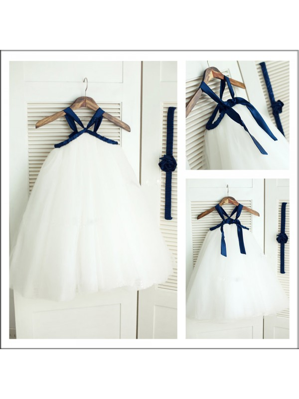 A-Line Spaghetti Straps Sleeveless Tea-length Tulle Flower Girl Dress