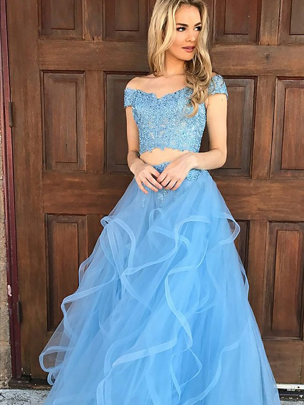 A-Line Sleeveless Off-the-Shoulder Tulle Applique Floor-Length Two Piece Dresses