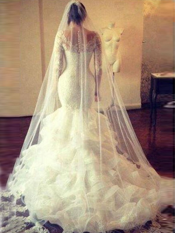 Trumpet/Mermaid Scoop Long Sleeves Lace Court Train Tulle Wedding Dresses