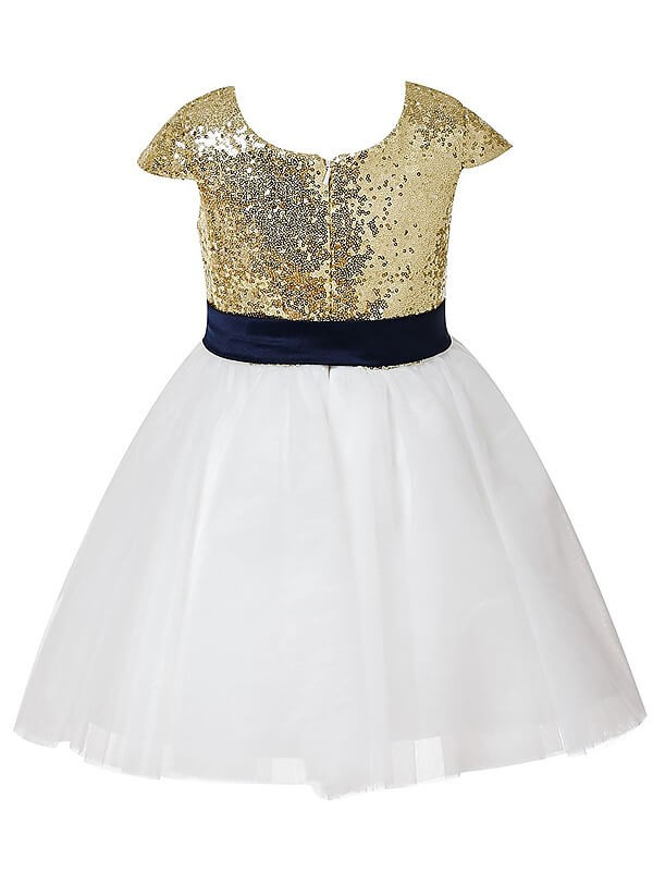 A-Line Short Sleeves Jewel Sequins Tulle Tea-length Flower Girl Dress