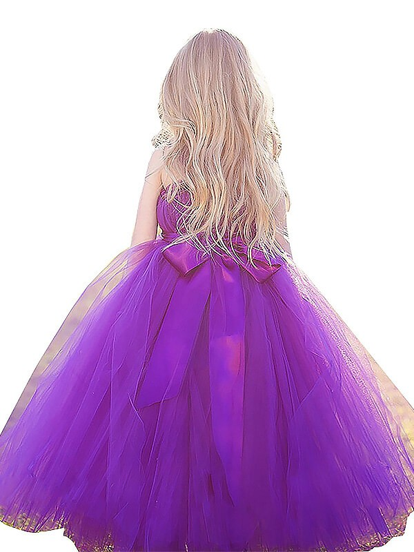 Ball Gown Straps Sleeveless Bowknot Floor-Length Tulle Flower Girl Dresses