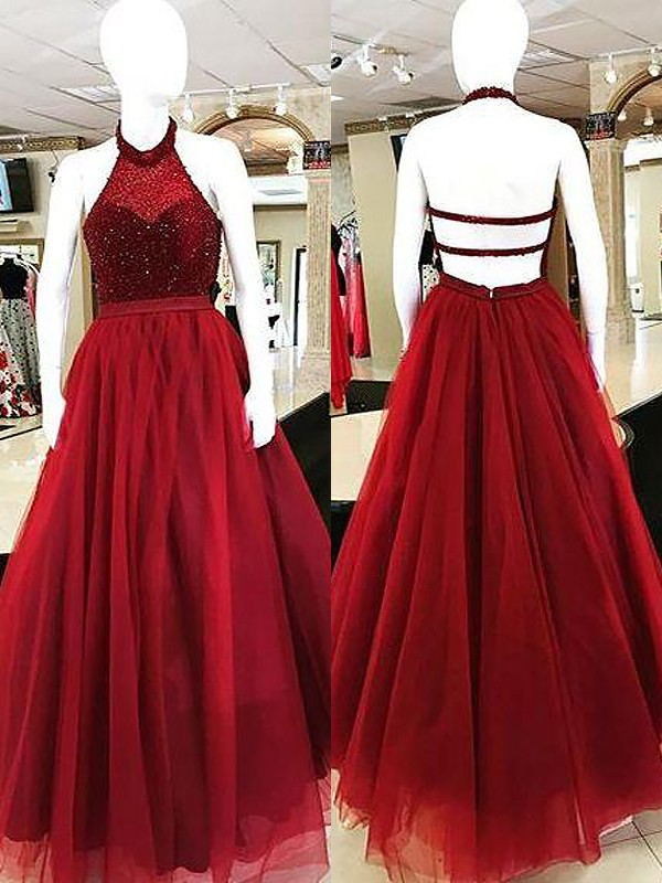 Ball Gown Sleeveless Halter Beading Floor-Length Tulle Dresses