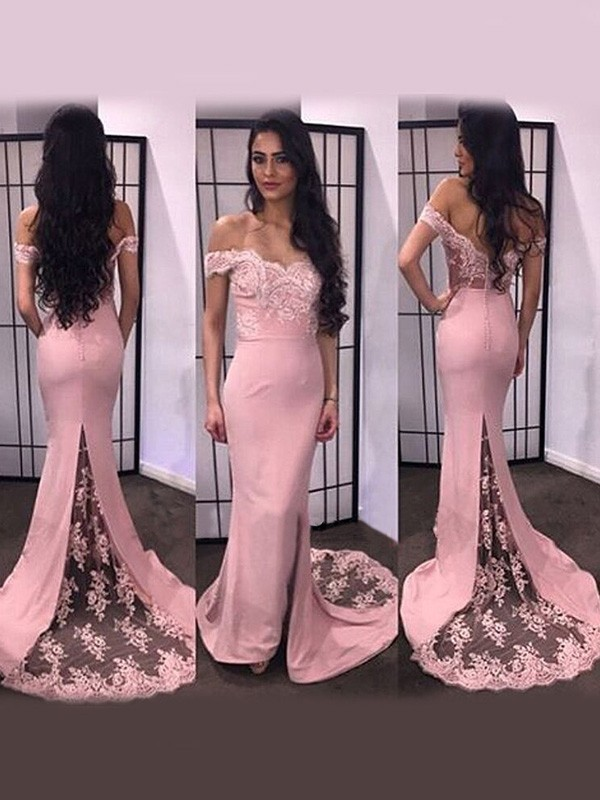 188fc4f03192 Trumpet/Mermaid Off-the-Shoulder Sleeveless Lace Satin Sweep/Brush Train  Dresses ...