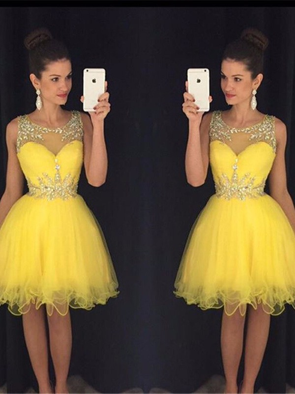 A-Line/Princess Scoop Sleeveless Beading Tulle Short/Mini Dresses