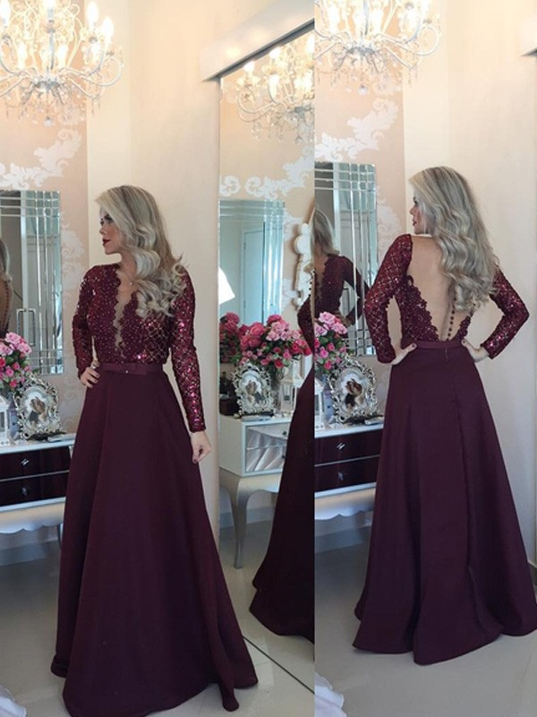 A-Line/Princess Scoop Long Sleeves Sequin Floor-Length Satin Dresses