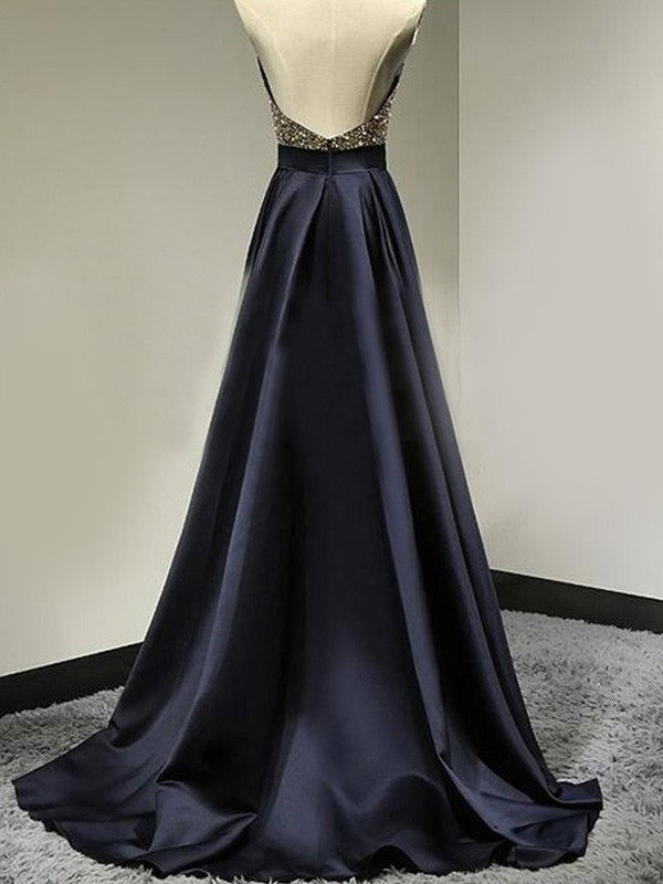 A-Line/Princess Sleeveless Halter Satin Floor-Length Beading Dresses